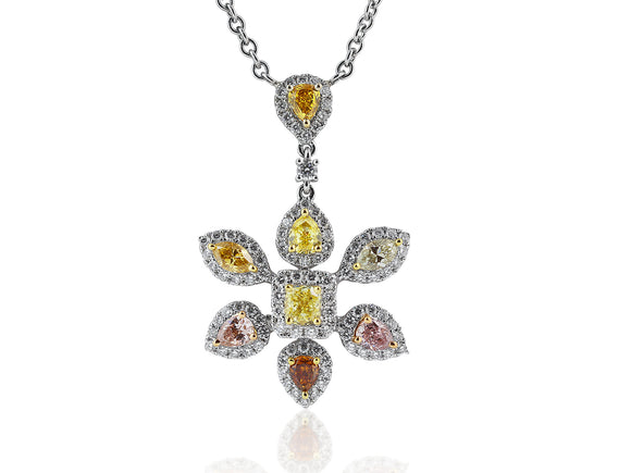 Fancy Color Diamond Floral Pendant