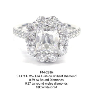 1.13ct Cushion Cut Diamond Ring