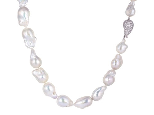 Baroque Fresh Water Pearl Pave Diamond Clasp Necklace