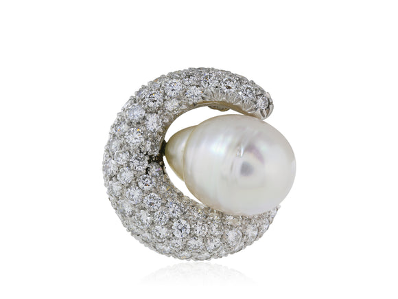18 kt wg Pave Diamond 4.00 cts and Sout Sea Pearl hoop earrings