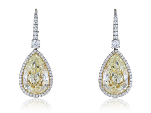 Pear Shape Canary Diamonds 2@14.50 carats drop earrings