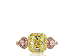 1.67 carat GIA FY VVVS2 Canary & Pink Diamond Ring