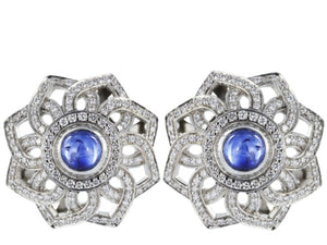 Plat Cabochon Sapphire & Diamond Clip Earrings