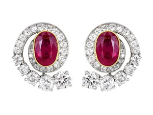 4.34ct No Heat Ruby & Diamond Earrings