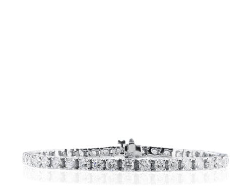18KWG Block Round Brilliant Cut Diamond Bracelet 11.17 CTW
