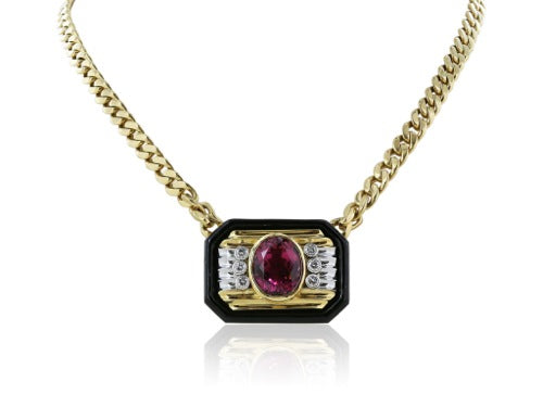 18kt plat Pink Tourmaline and diamond necklace with black enamel