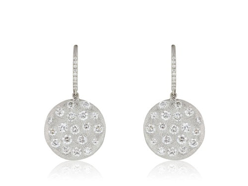 2.11 Carat Diamond Drop Circle Earrings