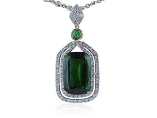 17.75 Carat Green Tourmaline Pendant with Diamonds