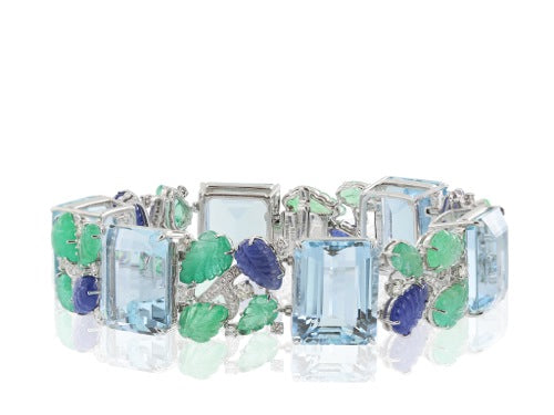 18 karat Aquamarine 122.15cts  Carved Sapphire and Emerald Bracelet