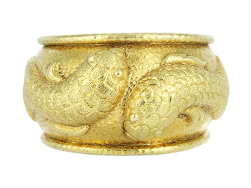 18 kt yellow gold Fish Estate Bangle Bracelet