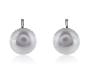 15.5-16mm Pearl Diamond Earrings
