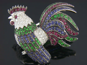 18kt White Gold Multi Gem Rooster Pin