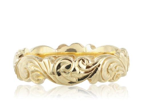 Ladies Engraved Gold Band