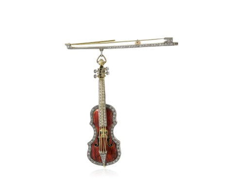 18 kt and plat diamond and enamel Violin and Bow brooch