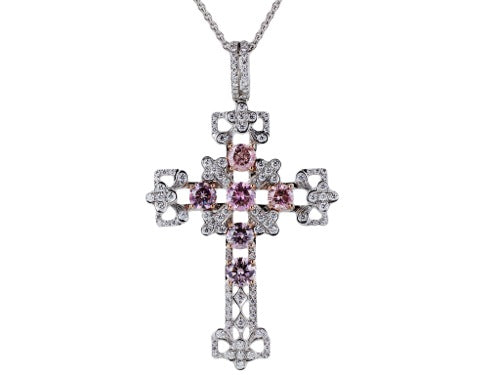 2.49ct Natural Pink Diamond Cross Pendnant