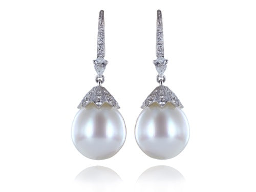 16.5MM South Sea Pearl and 1.65 Carat Diamond Earrings