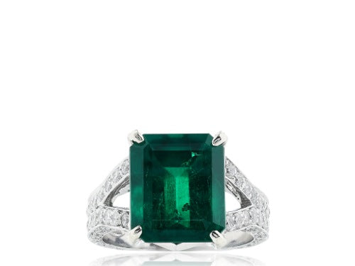6.25ct Columbian Emerald & Diamond Ring
