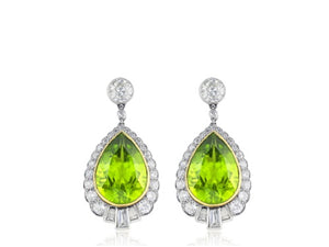 Peridot & Diamond Vintage Style Drop Earrings