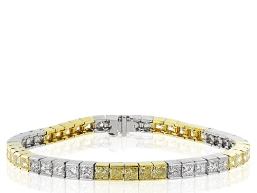 12.32 ct Canary & Colorless Diamond Bracelet