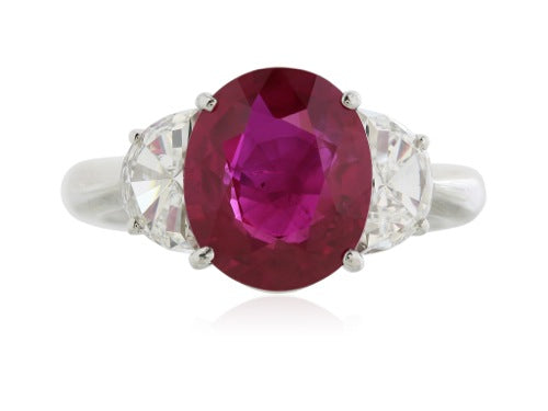 Platinum Burma Ruby 4.14 ct and half moon Diamond 2 @ 1.21 ct ring