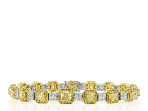 Colorless & Canary Diamond Bracelet