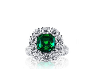 2.16ct Colombian Emerald & Diamond cluster Ring