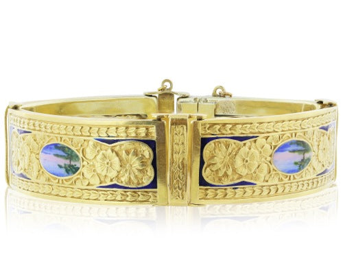 18 Karat Swiss Antique Enamel Bracelet