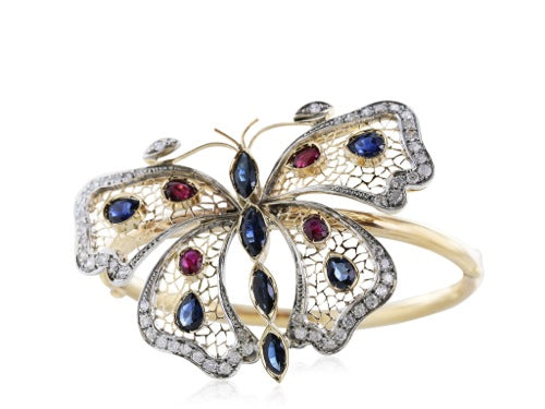 Multi Gem Butterfly Bracelet
