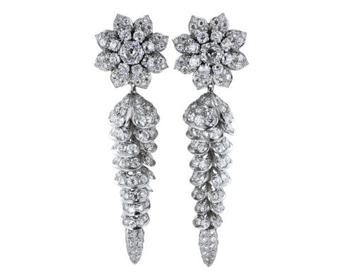 Plat 22ct Diamond Drop Earrings