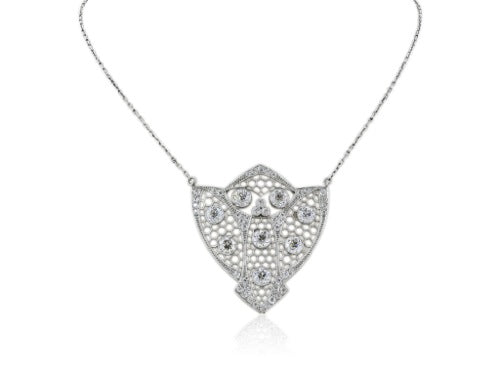 Plat edwardian diamond 5.00 cts shield pendant