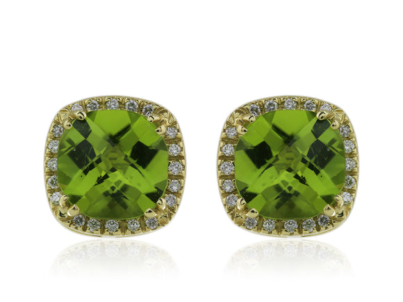 18 Kt facet Peridot and Diamond Earrings