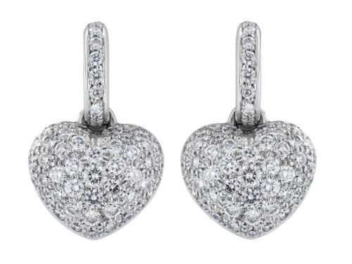 2.24 Carat Pave Set Diamond Heart Earrings