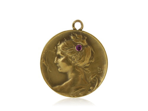 French Art Nouveau Pendant with Ruby Accent