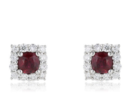 .69ct Ruby Diamond Earrings
