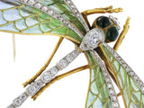 18kt Plique-a-jour & Antique style Cut Diamond Dragonly Pin