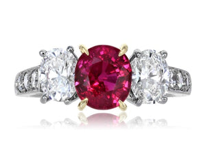 1.98ct Burma Ruby 3 Stone Ring
