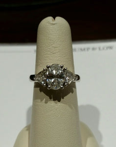 1.65ct Oval Shaped Diamond 3 Stone Ring