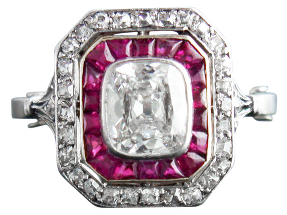 1.15ct Cushion Cut Diamond Art Deco Ring