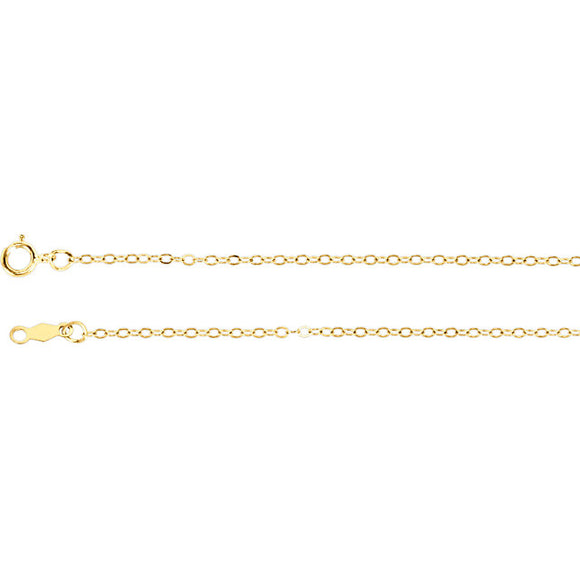 14 KT YG CABLE CHAIN, 16 INCH