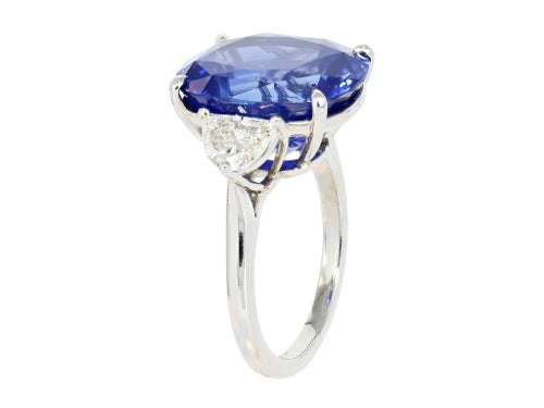 13.02ct Cushion Cut Sapphire & Diamond 3 Stone Ring