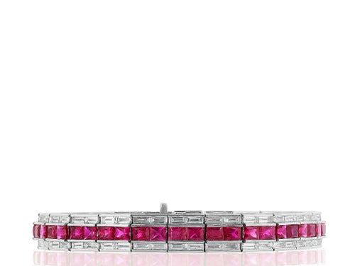 Art Deco Style Ruby & Diamond Bracelet