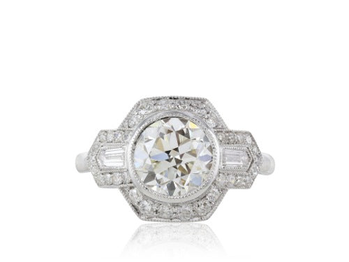 2.01 GIA I VS2 Diamond in a .53ct Plat Antique Style Ring