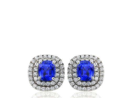 2.96ct Sapphire & Diamond Earrings