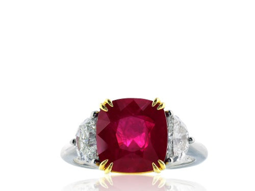 5.14ct Cushion Cut Burma Ruby & Diamond Ring