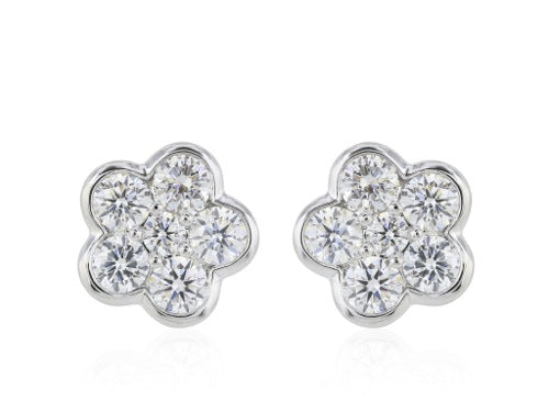1ct Flower Diamond Stud  Earrings