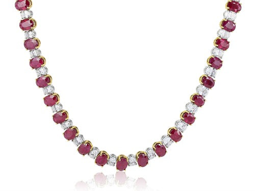 Oval Shaped Ruby 47.15 & Diamond 15.65 Necklace