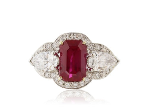 Estate Burma Ruby 4.03 carat and Diamond Ring