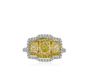 1.24ct Radiant Cut Canary Diamond Ring