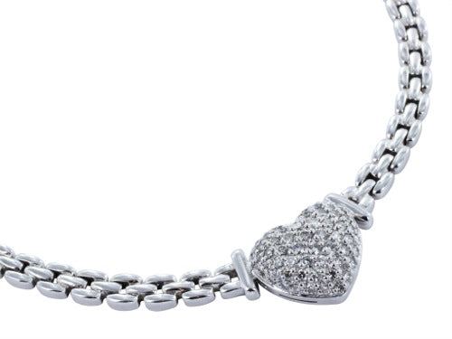 .97 Carat Pave Diamond Heart Necklace