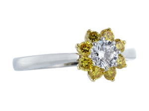 Colorless & Canary Diamond Ring, signed Alan Friedman